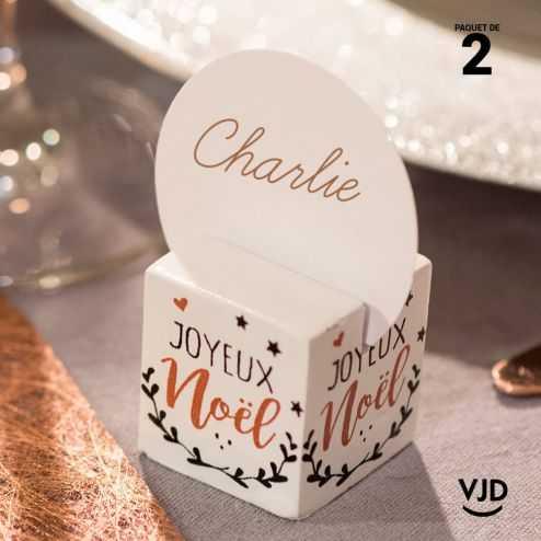 2 marques-places Coeur de Noël blanc 3 x 3 cm