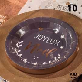 10 assiettes rondes Coeur de Noël noires 22,5 cm