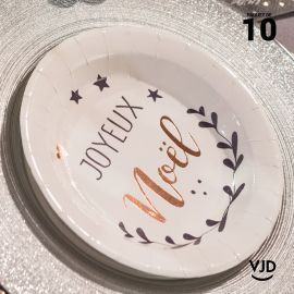 10 assiettes rondes Coeur de Noël blanches 17,5 cm