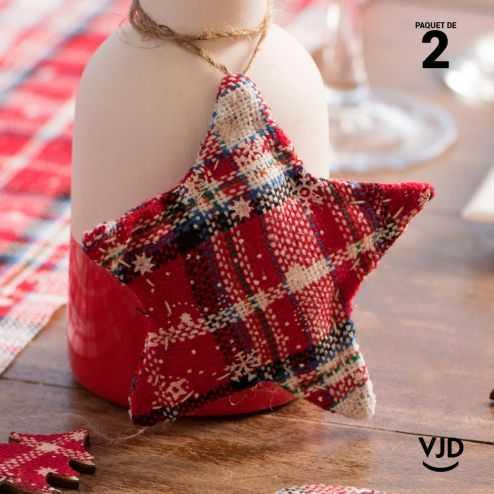 2 Suspensions étoile écossaise 11 cm avec cordon