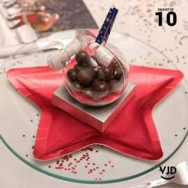 10 assiettes carton étoile rouge 22 cm