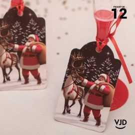12 marques-places traineau du Père Noël avec ruban 16 cm