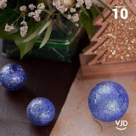 10 boules pailletées bleues