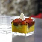 Verrine amuse-bouche plastique carrée transparente 6 cl