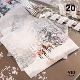 20 Serviettes papier Cerf givrés irisé 16,5 X 16,5 cm.