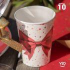 10 Gobelets carton Cadeau de Noël blanc et rouge 20 cl