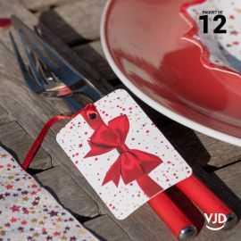 12 marques-places Cadeau de Noël avec ruban 16 cm