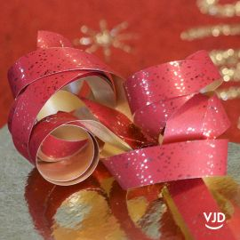 Bolduc rouge brillant métallisé festif, 25 mètres.