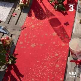 Chemin de table Pluie d'étoiles pailletée rouge. 3 mètres