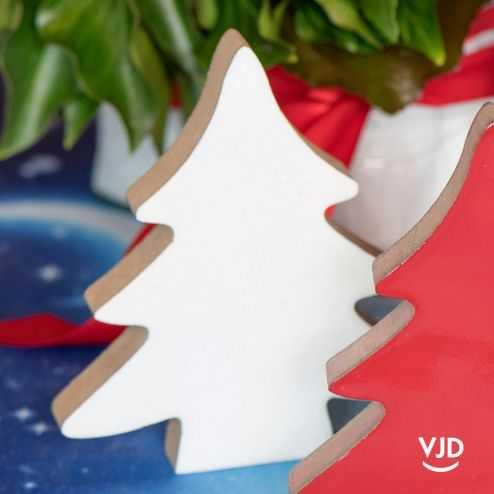 Sapin en bois, déco table de fête blanc. 12 cm