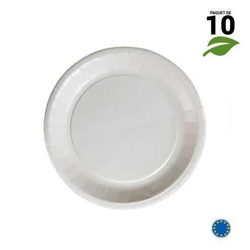 10 Assiettes carton blanc biodégradables 18 cm