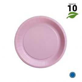 10 Assiettes carton rose biodégradables 18 cm