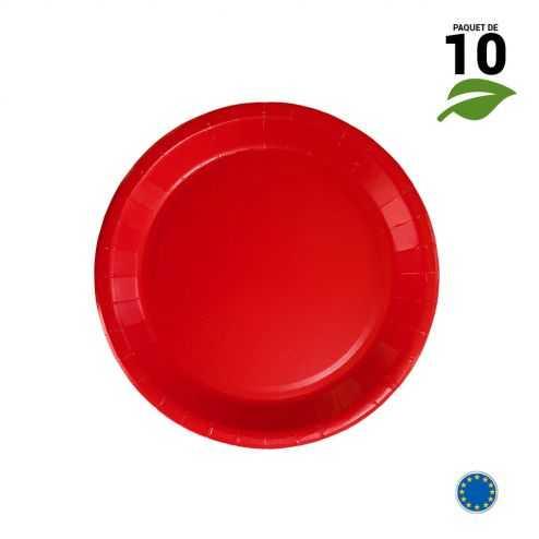 10 Assiettes carton rouge biodégradables 18 cm