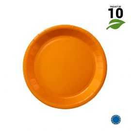 10 Assiettes carton orange biodégradables 18 cm