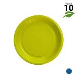 10 Assiettes carton vert anis biodégradables 18 cm