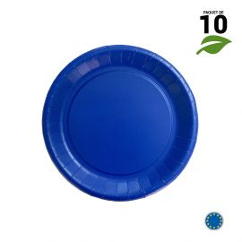 10 Assiettes carton bleu biodégradables 18 cm