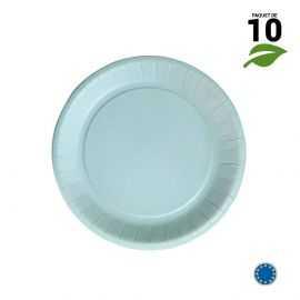 10 Assiettes carton bleu pastel biodégradables 18 cm