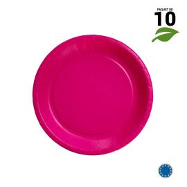 10 Assiettes carton fuchsia biodégradables 18 cm