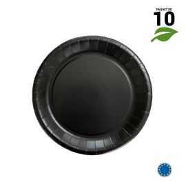 10 Assiettes carton noir biodégradables 18 cm