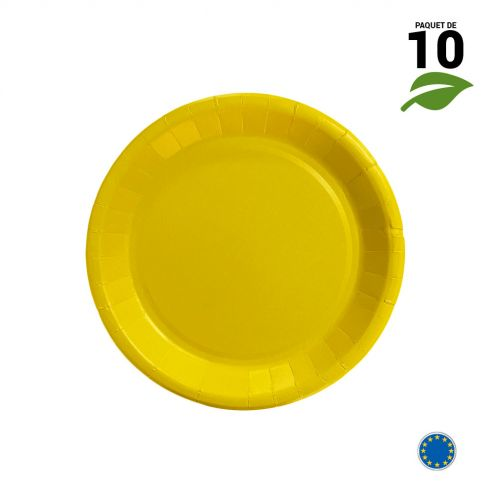 10 Assiettes carton jaune biodégradables 18 cm