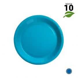 10 Assiettes carton turquoise biodégradables 18 cm