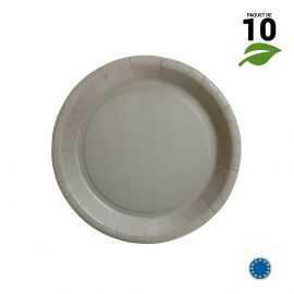 10 Assiettes carton gris biodégradables 18 cm