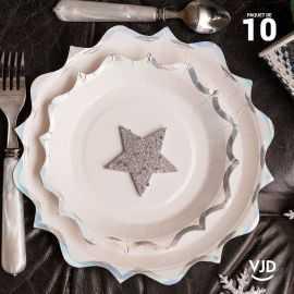 10 assiettes carton festonnée blanche et irisé 17,5 cm