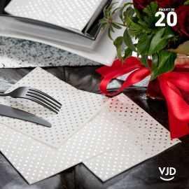 20 Serviettes papier points métallisés 12,5 X 12,5 cm.