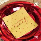 20 Serviettes papier or Noël velours lettres rouges 16,5 X 16,5 cm.