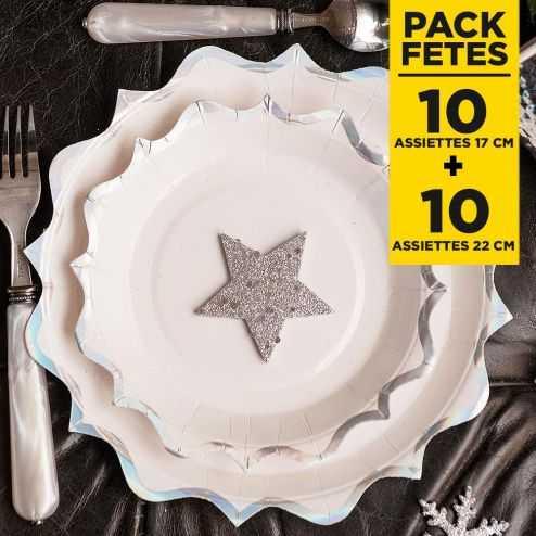 Pack 20 assiettes irisées festonnées 17cm + 22cm