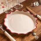 Pack 20 assiettes blanches et rouges festonnées 17cm + 22cm