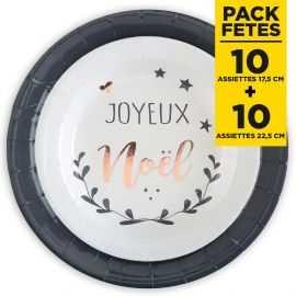 Pack 20 assiettes Coeur de Noël 17cm + 22cm