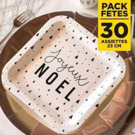 Pack 30 assiettes Joyeux Noël carrées 23cm