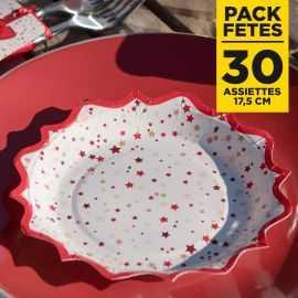 Pack 30 Assiettes cadeaux de Noël étoilées 17cm