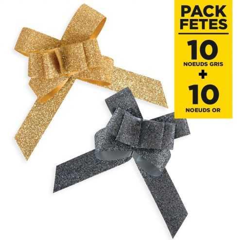 Pack 20 noeuds pailletés automatiques or et gris