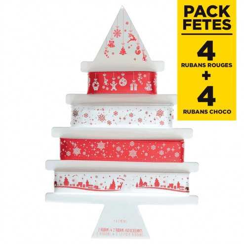 Packs 8 rubans cadeaux étoilé Rouge-chocolat-or-blanc