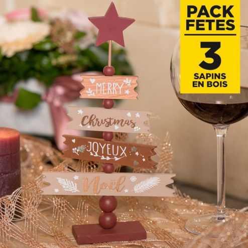 Pack 3 Sapins joyeux Noël 25cm bois et cuivre