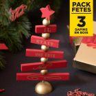 Pack 3 Sapins joyeux Noël 25cm rouge et or il était une fois