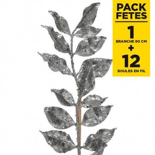 Pack 1 branche pailletée argent 80cm + 12 boules argent en fils scintillants 3 cm