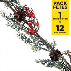 Pack couronne houx rouge 120cm + 12 Boules rouges en fils scintillant 3cm