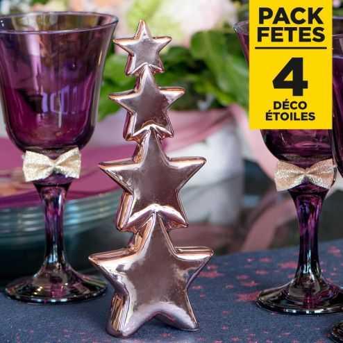 Pack 4 décoration étoiles rose gold 20cm