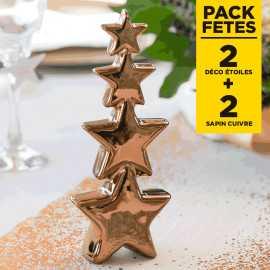 Pack 2 décoration étoiles cuivre 20cm + 2 Etoiles bois cuivré pailletées 23cm