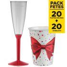Pack 20 gobelets cadeaux de Noël + 20 Flûtes rouges premium