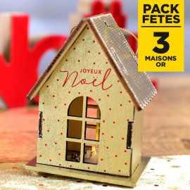 Pack 3 maisons or lumineuses sur socle 9cm
