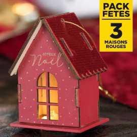 Pack 3 maisons rouges lumineuses sur socle 9cm