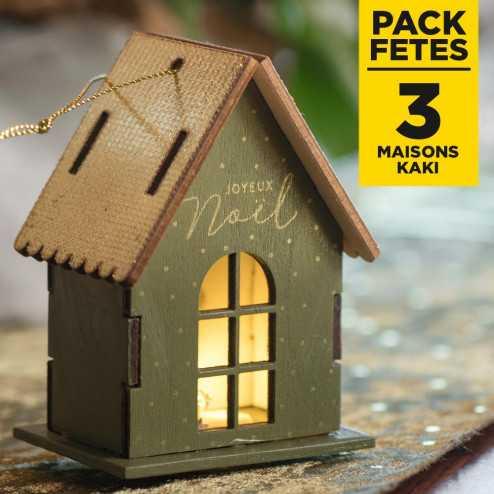 Pack 3 maisons kaki lumineuses sur socle 9cm
