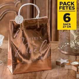 Pack 6 sacs Rose gold Joyeux Noël 27cm