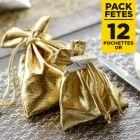 Pack 12 pochettes à lacet effet brillant or