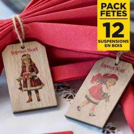 Pack 12 suspensions joyeux Noël en bois 10cm petite fille