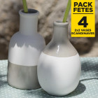 Pack 4 vases scandinaves arrondis et allongés